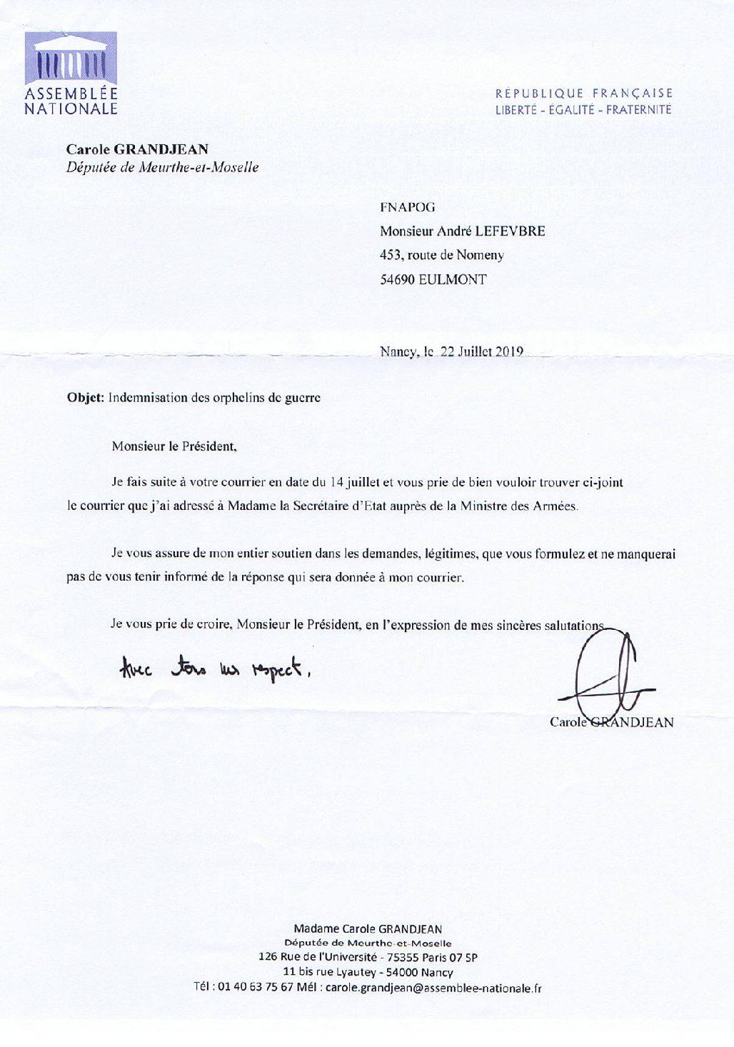 Courrier de Madame Carole Grandjean députée à Maître André Lefebvre